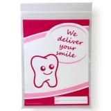 Dentalbeutel wei� eingef�rbt We deliver your smile  pink  LDPE 50 my 180 x 250 + 230 mm  1000 St�ck